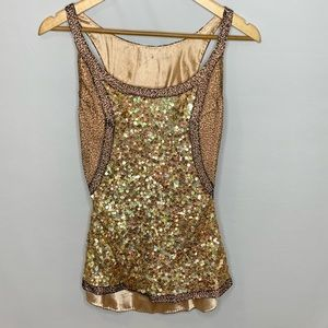 Rose Gold Fully Beaded Sequins Satin Lined Top